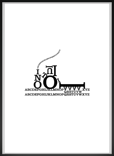 lettern on paper, framed